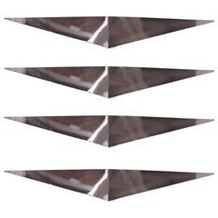 Set of Four Large 1960s Italian Chrome Wall Appliques