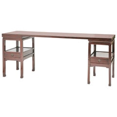 Antique Chinese Three-Part Long Display Table, Panel on Pedestals, Ming Style