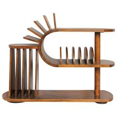 Art Deco Three-Tier Wood Magazine Rack and Table