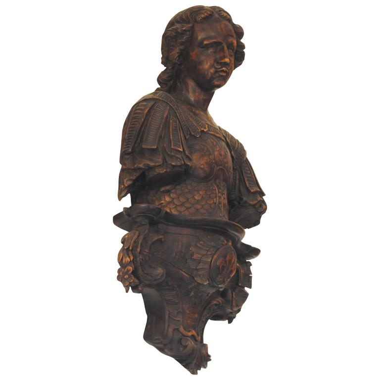 French Carved Walnut Figure on Stand, Mid-19th Century