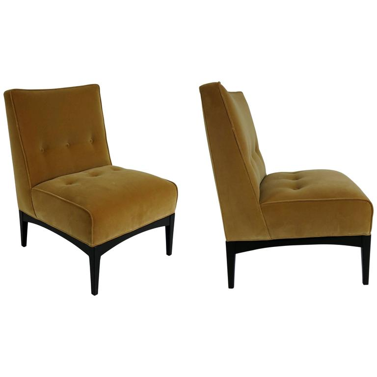 Luxurious Pair of Mahogany Slipper Chairs by Metropolitan