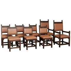 Set of Eight Rustic Dutch Gothic Dining Chairs