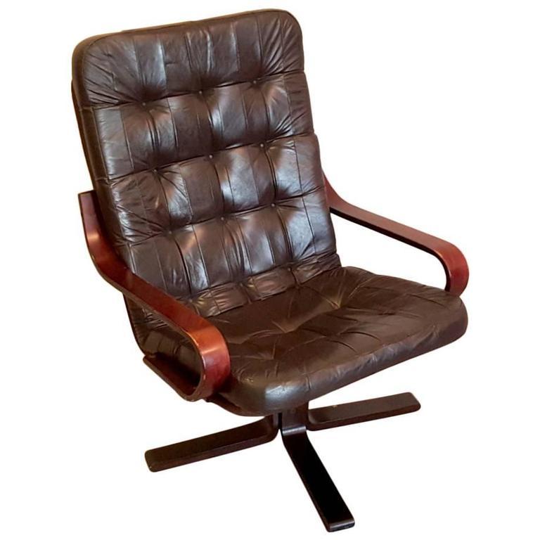 Midcentury Retro Kebe Mobelfabrik Leather And Bentwood