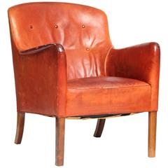 Leather Lounge Chair by Ole Wanscher