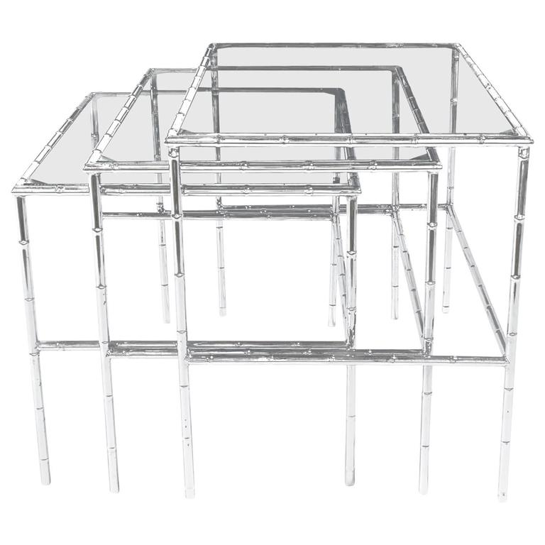 Set of Three Chrome Bamboo and Glass Nesting Tables