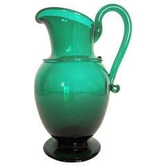 Emerald Green Art Glass Pitcher or Vase