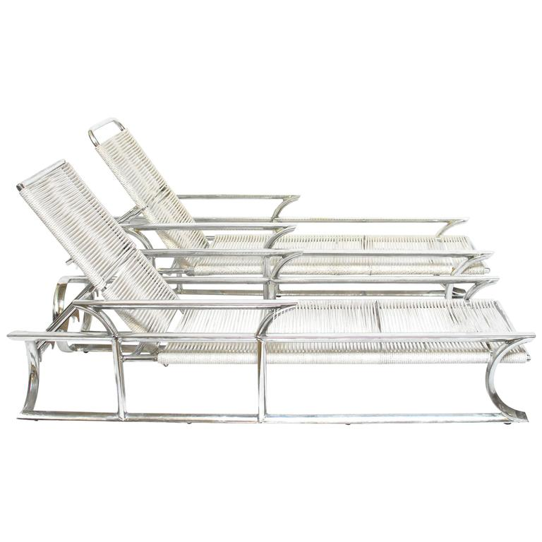 Pair of art deco tropitone aluminum and rope lounge chairs for Art deco style chaise lounge