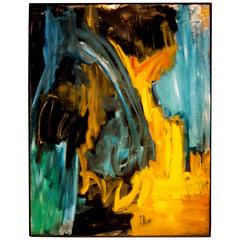 1960s Extra large Abstract Oil on Canvas Painting by Lorraine Lee