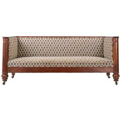 19th Century Empire Box Form Antique Sofa Settee with Barrel Column Arms