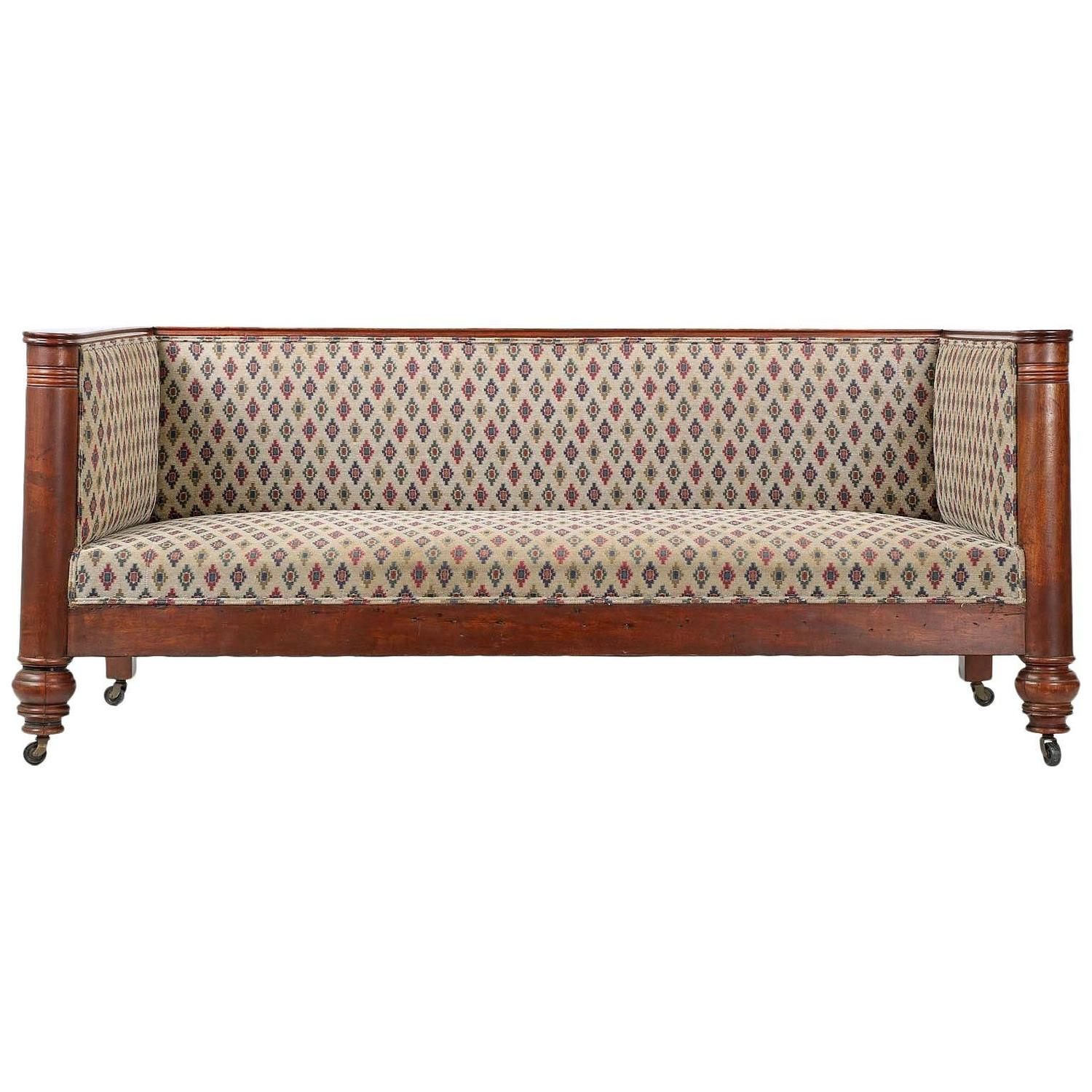 19th Century Empire Box Form Antique Sofa Settee with Barrel