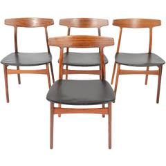 Set of Four Henning Kjærnulf for Bruno Hansen Rosewood Dining Chairs