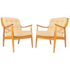 Pair of Peter Hvidt for France and Daverkosen Lounge Chairs in Birch