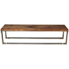 Chrome and Walnut Bench in the style of Milo Baughman