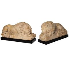 Pair of Grand Tour Period, Roman Sienna Marble Recumbent Lions after Canova