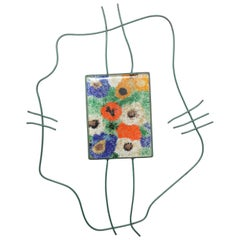 Modernist Fused Glass and Wrought Iron Light Sculpture