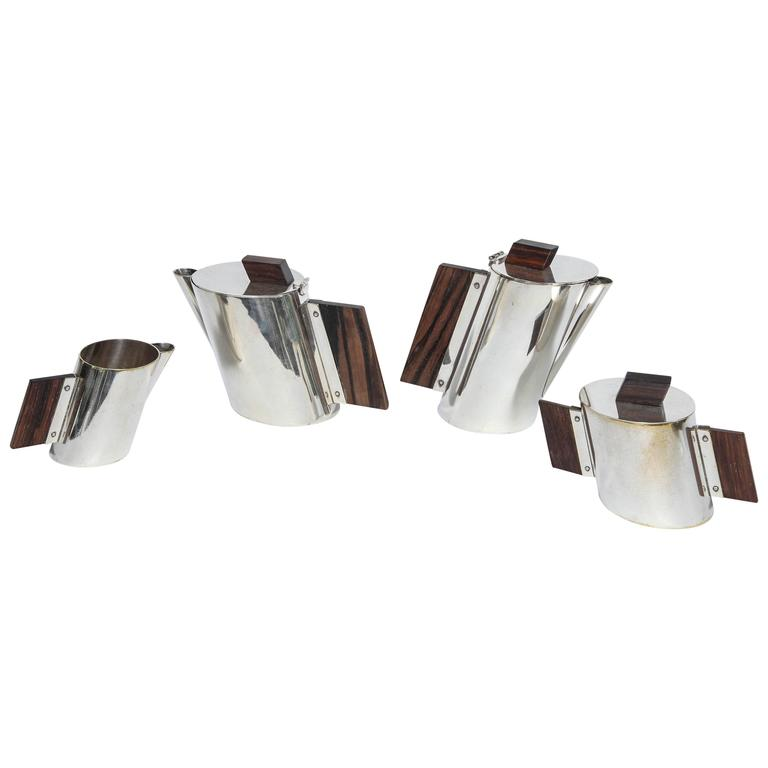 Art Deco La Maison Desny Nickel Plated and Rosewood Four-Piece Tea Set 1