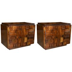 Pair of Lane Brutalist Nightstands, Mosaic Collection