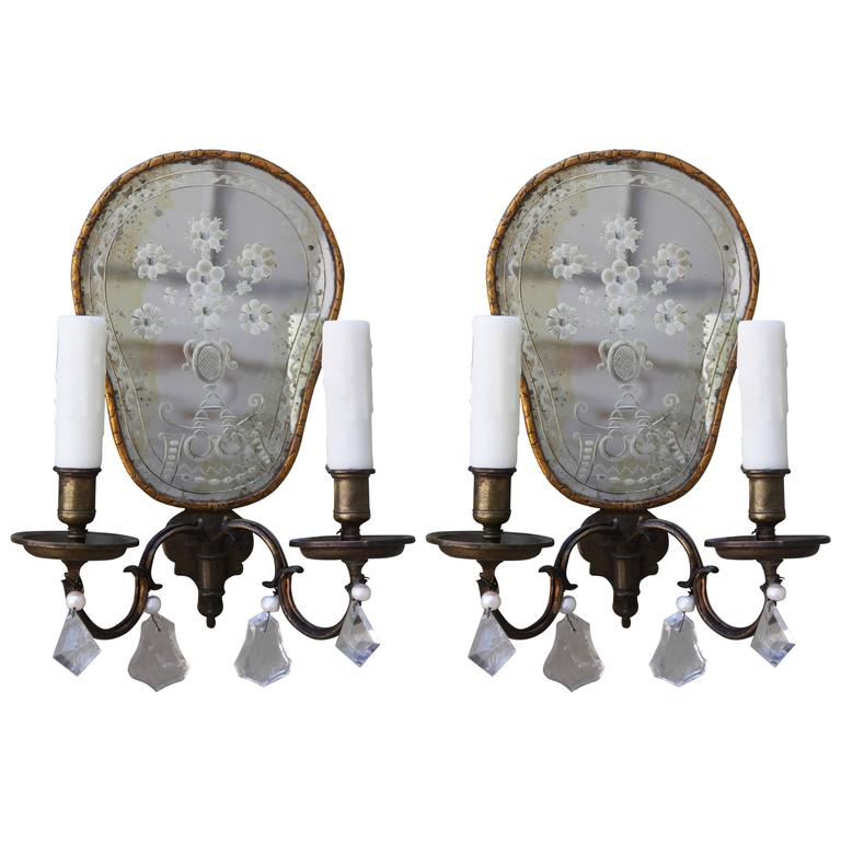Venetian Wall Sconces : Pair of Two-Light Venetian Etched Mirrored Sconces For Sale at 1stdibs