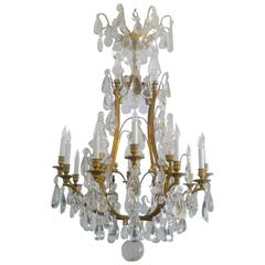 Gilt Bronze and Crystal Louis XVI Style Chandelier