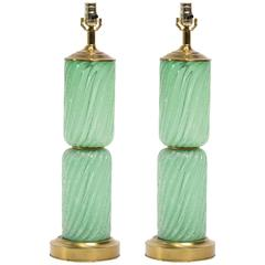 Pair of Balboa Sea Foam Green Murano Lamps