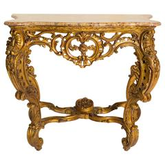 Italian Giltwood Marble Top Console
