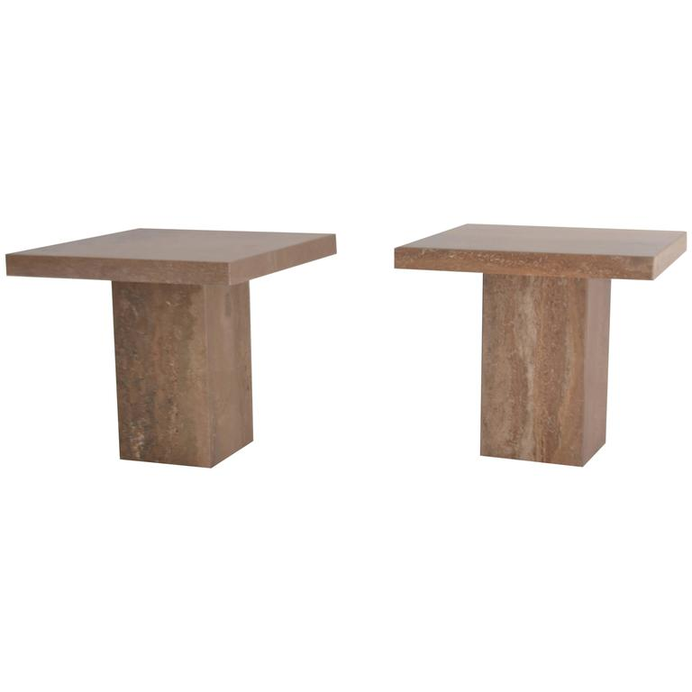 Pair of Italian Travertine Side Tables