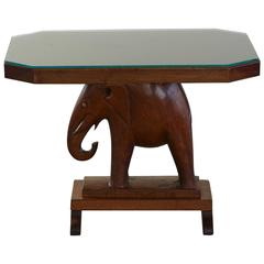 Nigerian Mahogany End Table with Carved Elephant Base, circa 1940s
