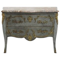 French Louis XV Shaped Commode with Gilded Mounts and Marble Top, 19th Century