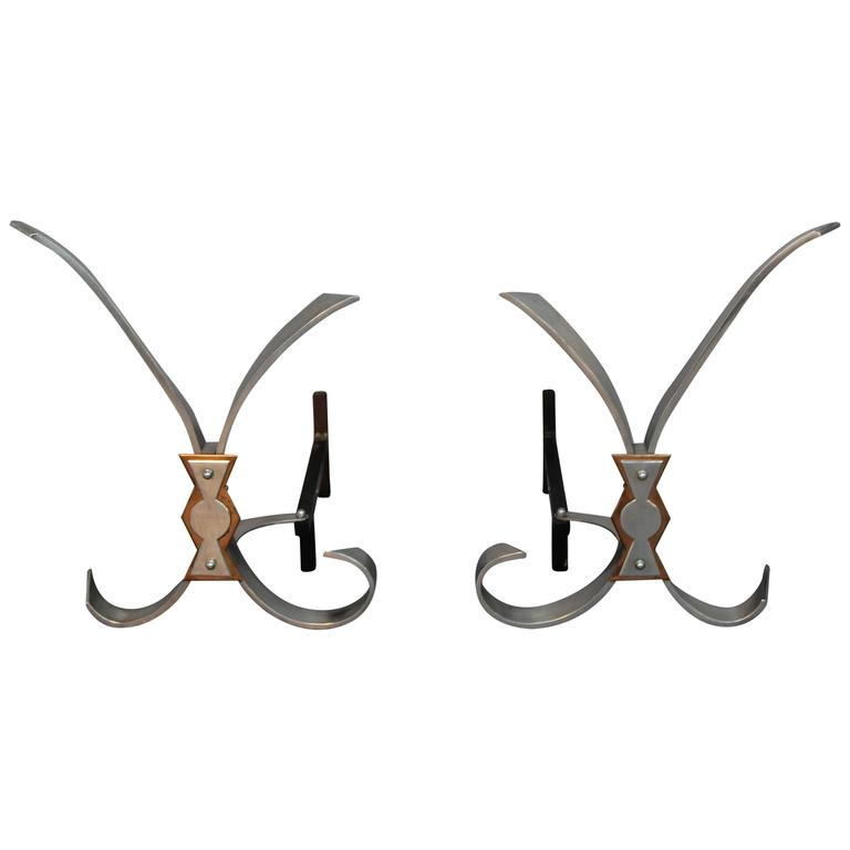 Polished Steel Andirons For Sale