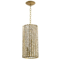 Midcentury Brass and Glass Cylindrical Chandelier
