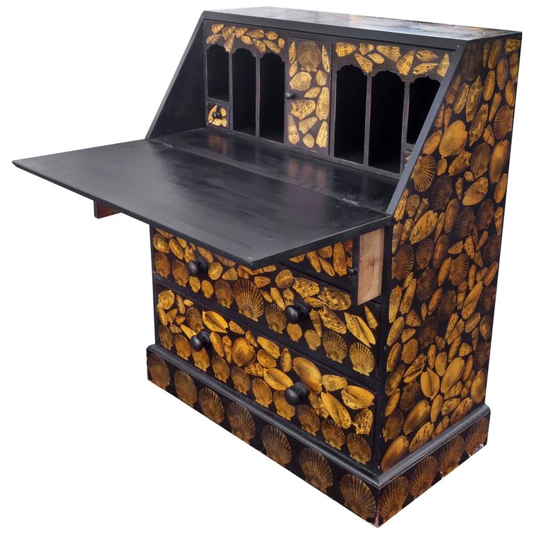 English Desk With Decoupage For Sale At 1stdibs