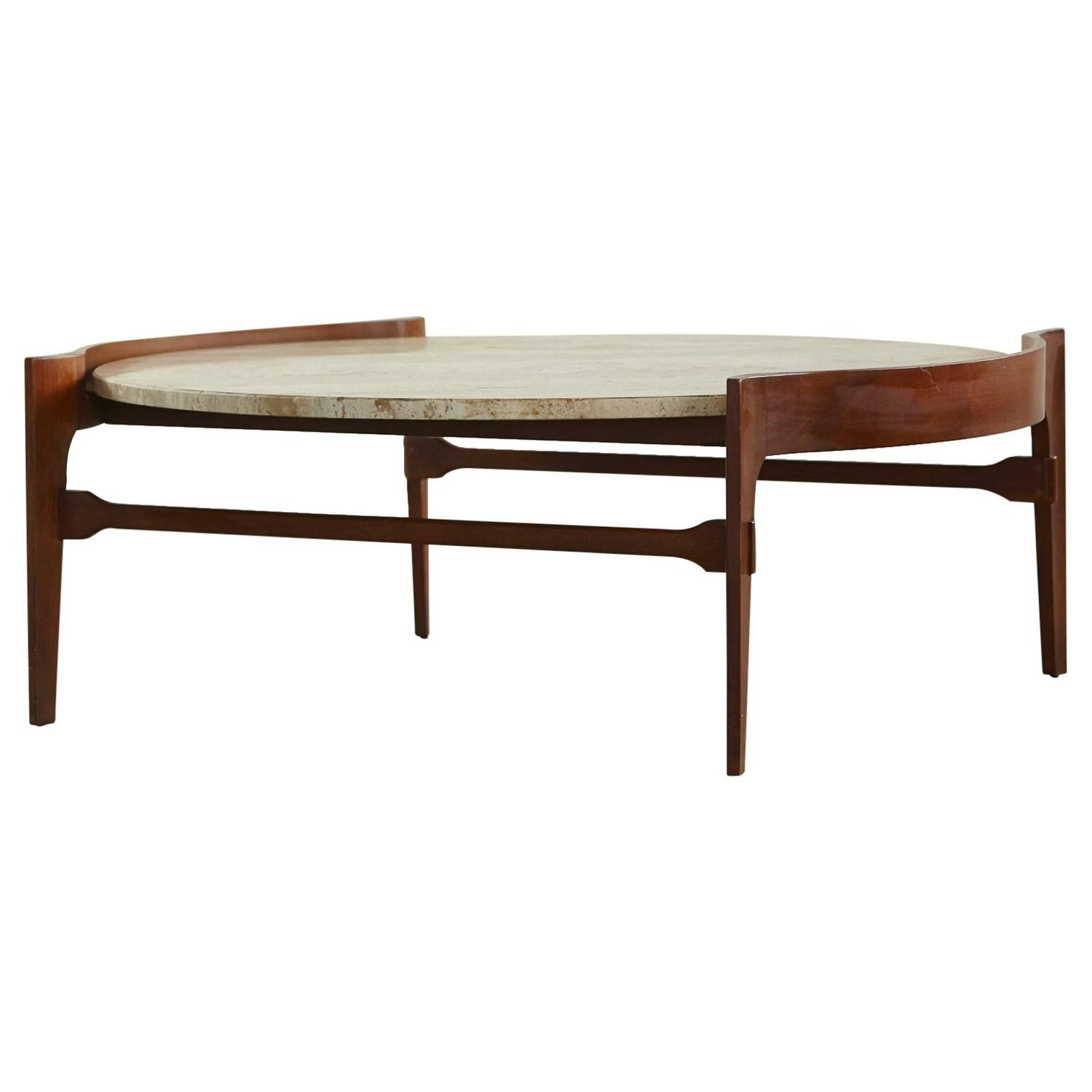 Sculptural Travertine and Walnut Coffee Table by Bertha Schaefer