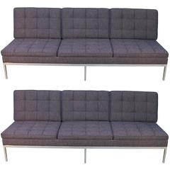 Pair of Florence Knoll Armless Three-Seat Sofas Newly Upholstered