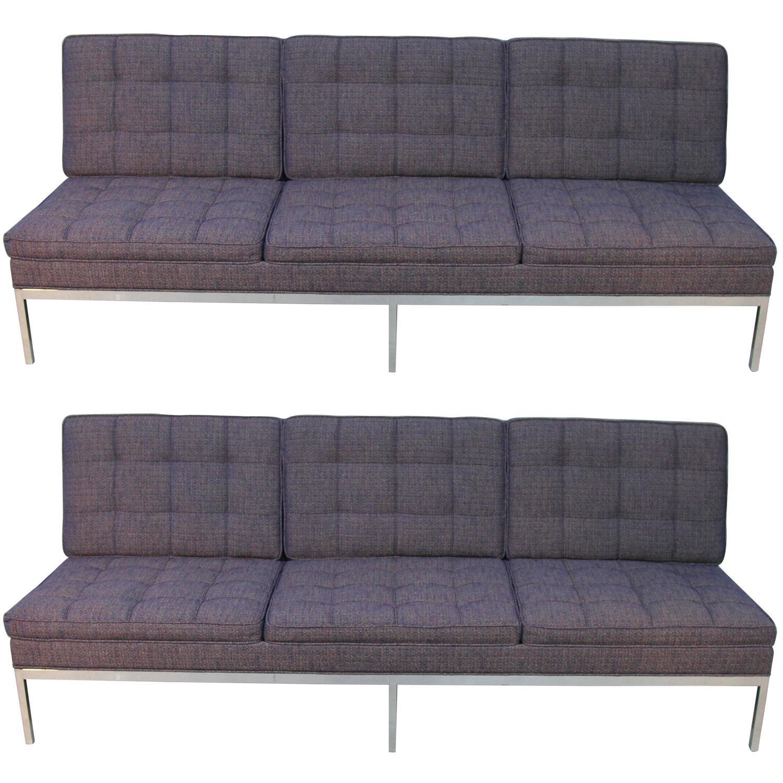 Pair Of Florence Knoll Armless Three Seat Sofas Newly