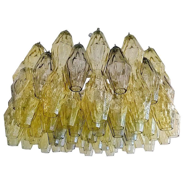 """Venini """"Polyhedral"""" Tobia Scarpa Murano Glass Chandelier For Sale"""