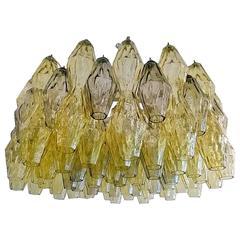 """Venini """"Polyhedral"""" Tobia Scarpa Murano Glass Chandelier"""