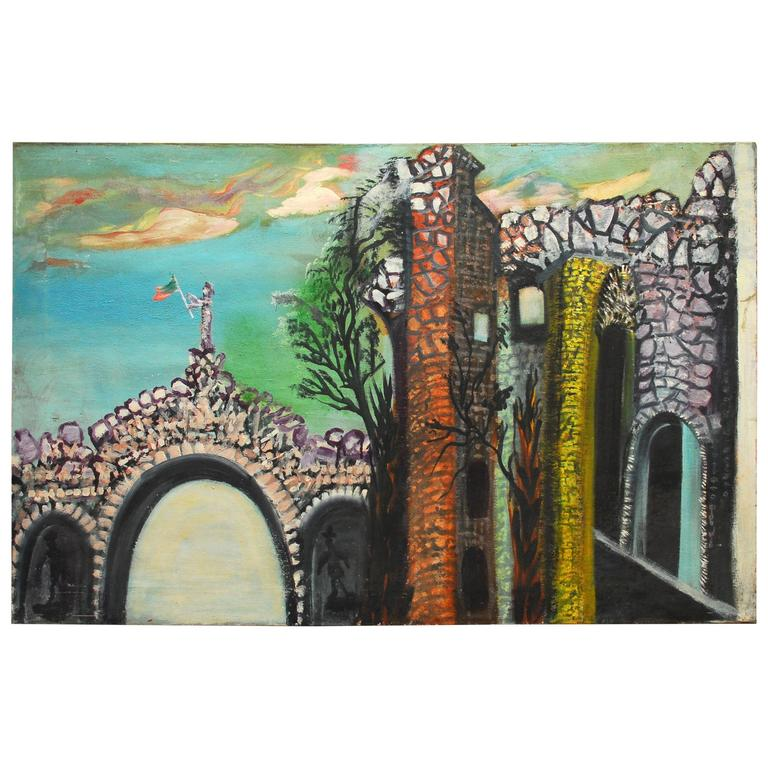 "Ursula Barnes Painting ""Lady on the Archway"""