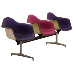 Iconic Rare White Fiberglass Purple Pink Color Combination Eames Tandem Seating