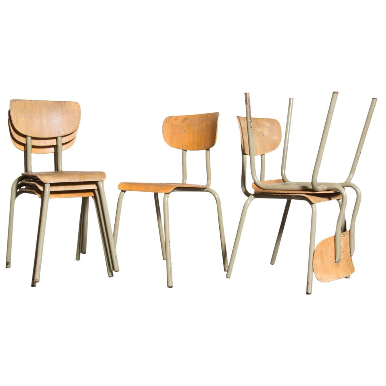 Set Of Six Tubax Stacking Birch School Chairs At 1stdibs