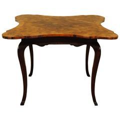 German Marquetry Veneered Louis XV Style Games Table, Rosewood Base