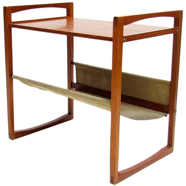 Graceful Danish Side Table And Magazine Rack In Teak And Suede 1