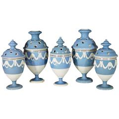 Dipped-ware Pearlware Sky Blue Garniture of Five Vases & Covers, 18th-century.