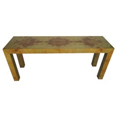 Milo Baughman Burled Olivewood Console Table, Mid-Century Modern
