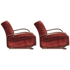 Pair of Gilbert Rohde Streamline Art Deco Lounge Chairs for Heywood-Wakefield