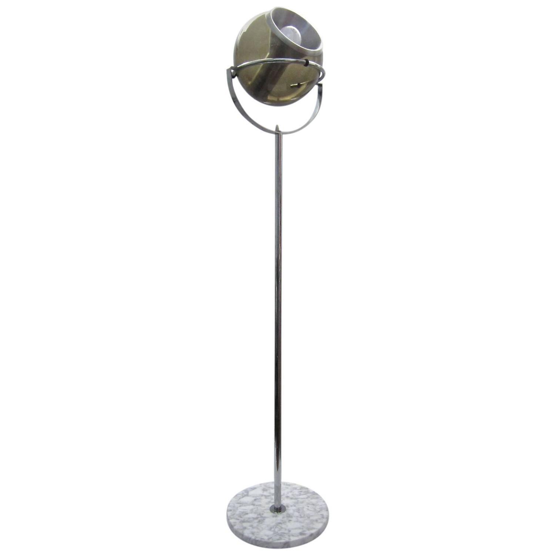 Italian chrome marble and amber glass floor lamp at 1stdibs for Floor lamps chrome and glass
