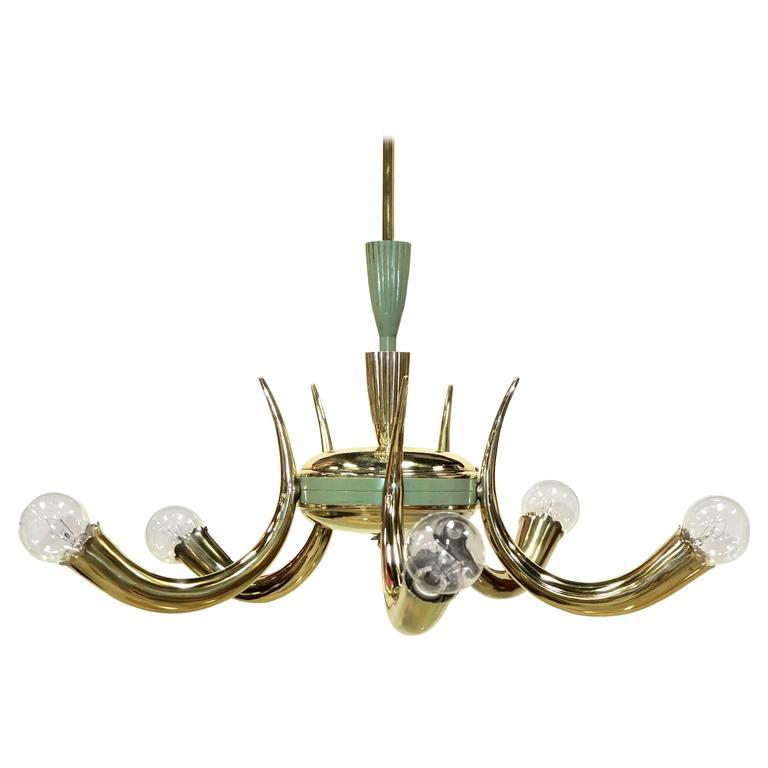 1950s Italian Brass Cornucopia Chandelier