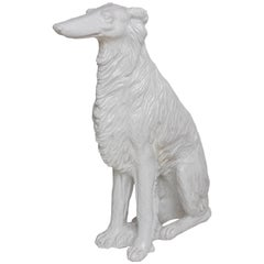 Life-Size Borzoi in Italian White Glazed Terracotta