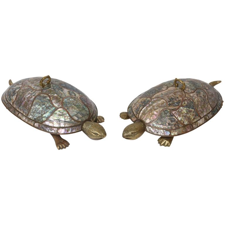 Mexican Mid Century Abalone And Brass Turtle Serving Bowls