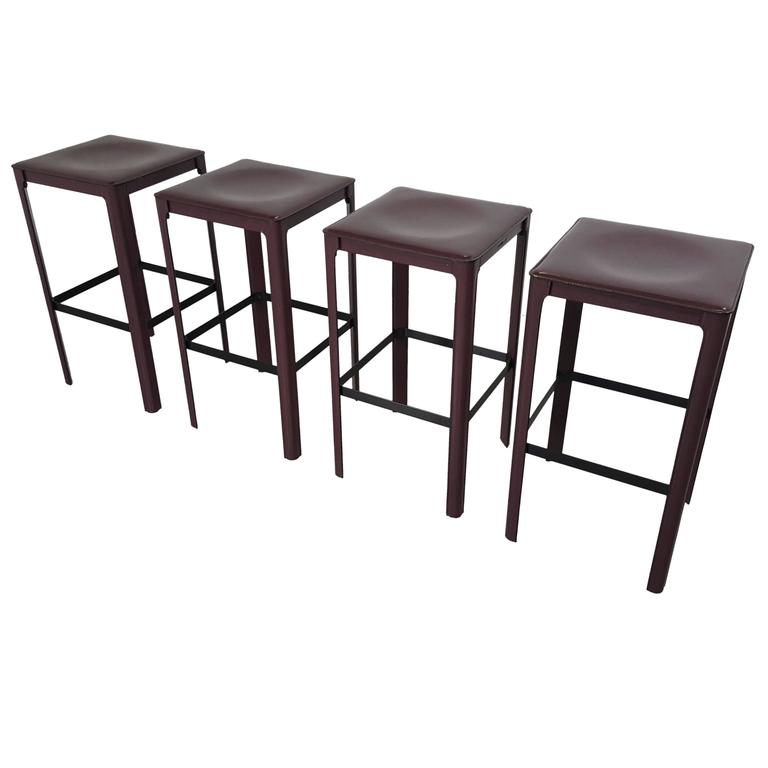 Stately Counter Stools In Heavy Bordeaux Leather By Matteo