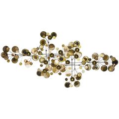 Massive Raindrop Wall Sculpture with Brass Discs and Orbs by Curtis Jere